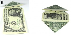 Dollar Bill Origami Heart With Quarter.